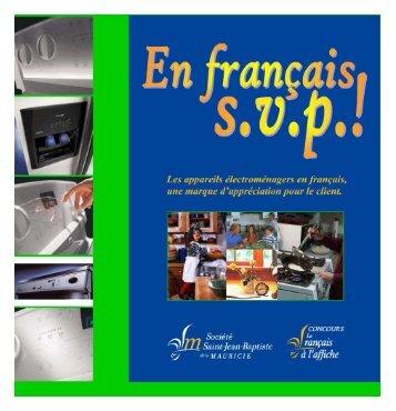 En français s.v.p.! - Société Saint-Jean-Baptiste de la Mauricie