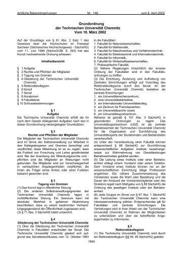 Grundordnung der TUC [pdf] - StuRa - Technische Universität ...