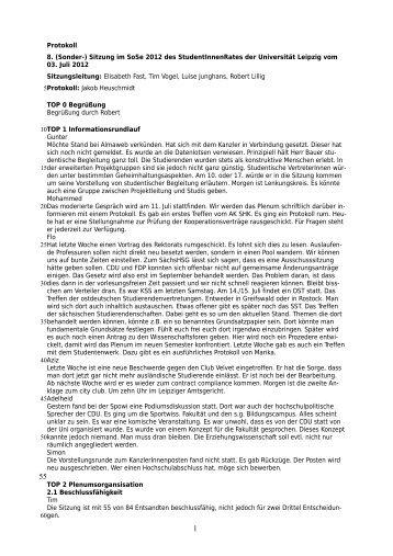 Protokoll zur Sondersitzung vom 03.07.2012 - StuRa Universität ...
