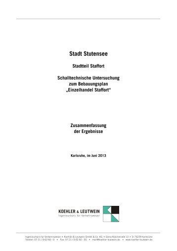 Schalltechnische Untersuchung - Stadt Stutensee