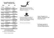 Unser Programm im Oktober, November und Dezember 2012