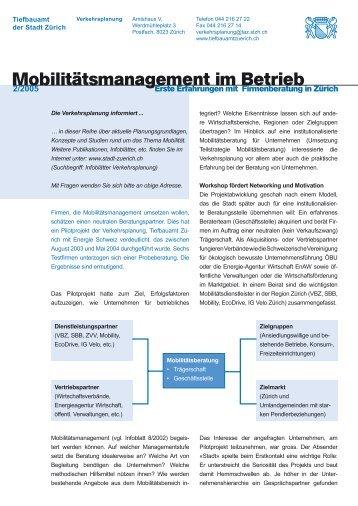 Mobilitätsmanagement im Betrieb - Infoblatt 2/2005 - Stadt Zürich