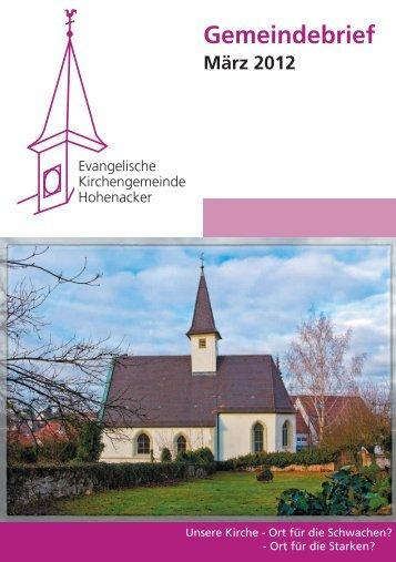 Gemeindebrief März 2012 - Evangelische Kirchengemeinde ...