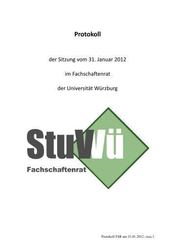 31.01.2012 - Studierendenvertretung - Universität Würzburg