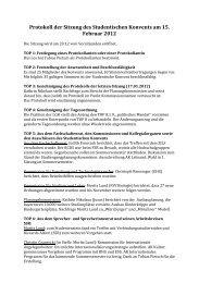 Protokoll der Sitzung des Studentischen Konvents am 15. Februar ...