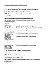 Protokoll der Sitzung des Konvents am 29.11.06 TOP 1 (Begrüßung ...