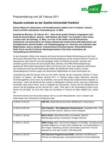 Stuzubi erstmals an der Goethe-Universität Frankfurt