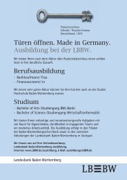 Türen öffnen. Made in Germany. Ausbildung bei der LBBW. - Stuzubi