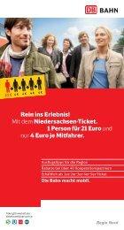 Niedersachsen-Ticket. 1 Person für 21 Euro und - Erixx