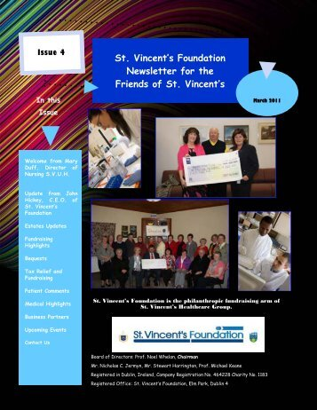 Friends of St. Vincent's Newsletter March 2011