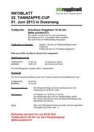 Infozettel für die Turner/innen Tannzapfe-Cup 2013 - STV Roggliswil
