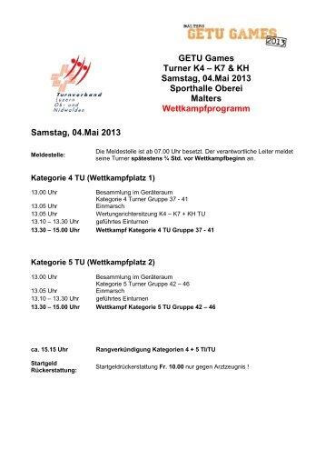 Tagesprogramm Getu-Games 2013 TU - STV Roggliswil