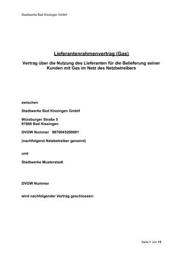 Lieferantenrahmenvertrag (Gas) - Stadtwerke Bad Kissingen
