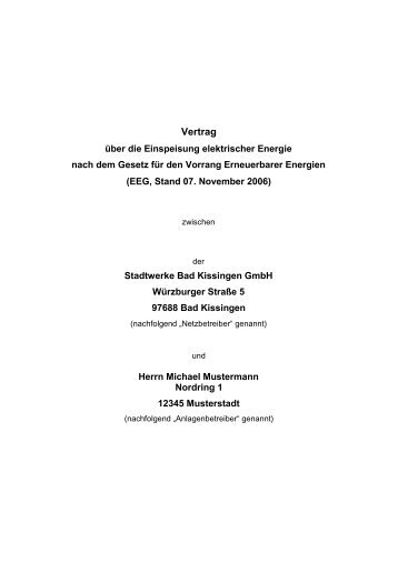 3.1 EEG Vertrag - Stadtwerke Bad Kissingen