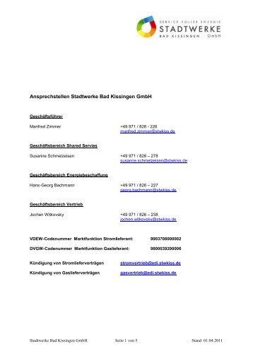 Ansprechstellen Stadtwerke Bad Kissingen GmbH