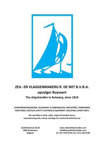ZEIL- EN VLAGGENMAKERIJ R. DE WIT B.V.B.A. ... - Proximedia