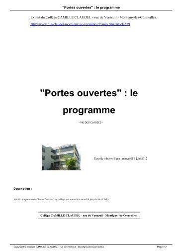 """""""Portes ouvertes"""" : le programme - Collège CAMILLE CLAUDEL"""