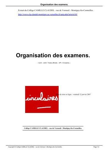Organisation des examens. - Collège CAMILLE CLAUDEL