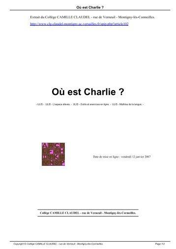Où est Charlie ? - Collège CAMILLE CLAUDEL