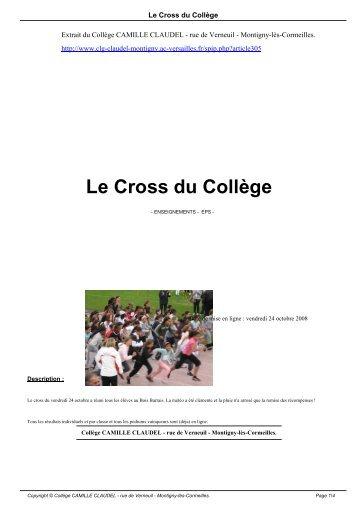 Le Cross du Collège - Collège CAMILLE CLAUDEL