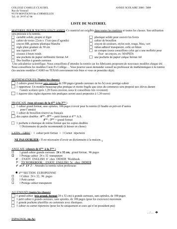 LISTE DE MATERIEL - Collège CAMILLE CLAUDEL