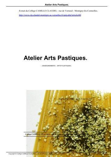 Atelier Arts Pastiques. - Collège CAMILLE CLAUDEL