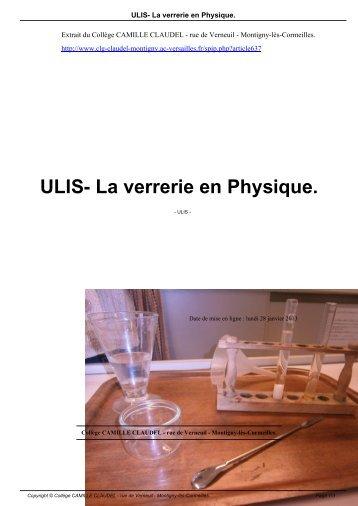 ULIS- La verrerie en Physique. - Collège CAMILLE CLAUDEL