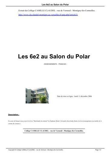 Les 6e2 au Salon du Polar - Collège CAMILLE CLAUDEL