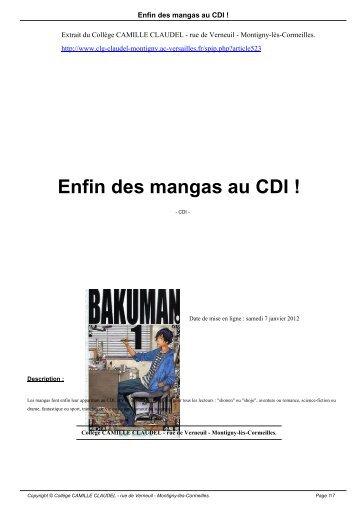 Enfin des mangas au CDI ! - Collège CAMILLE CLAUDEL