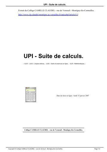 UPI - Suite de calculs. - Collège CAMILLE CLAUDEL