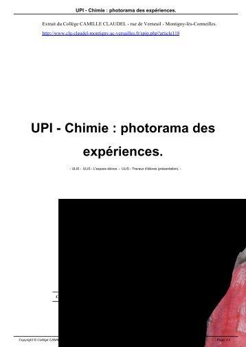 UPI - Chimie : photorama des expériences. - Collège CAMILLE ...