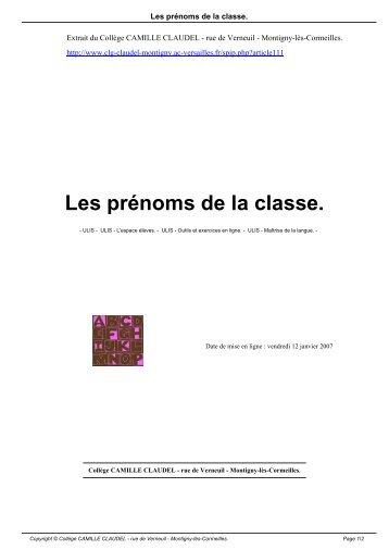 Les prénoms de la classe. - Collège CAMILLE CLAUDEL