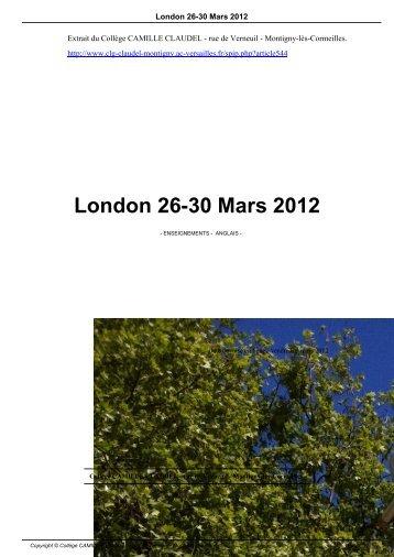 London 26-30 Mars 2012 - Collège CAMILLE CLAUDEL