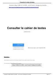Consulter le cahier de textes - Collège CAMILLE CLAUDEL