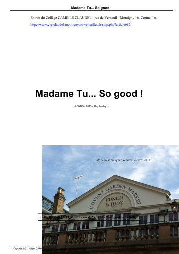 Madame Tu... So good ! - Collège CAMILLE CLAUDEL