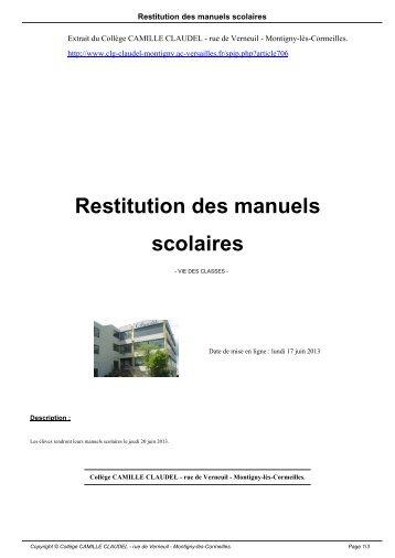 Restitution des manuels scolaires - Collège Camille-Claudel