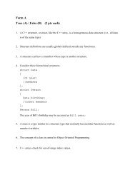 Form A True (A) / False (B) (2 pts each) - Classes