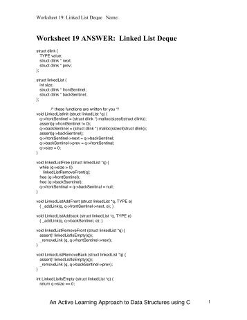 Worksheet 19 ANSWER: Linked List Deque - Classes