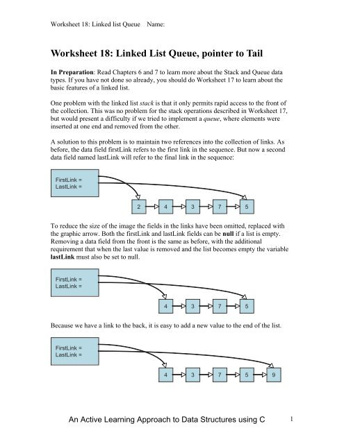 Worksheet 18: Linked List Queue, pointer to Tail - Classes