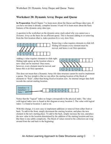 Worksheet 20: Dynamic Array Deque and Queue - Classes