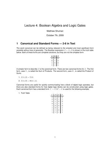 Lecture 4: Boolean Algebra and Logic Gates - Classes