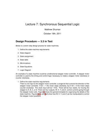 Lecture 7: Synchronous Sequential Logic - Classes