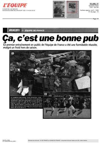 RUGBY Ça,c'est unebonne pub - Vacances en Auvergne