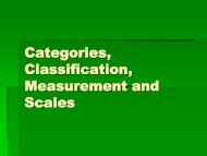 Categories, Classification, Measurement and Scales