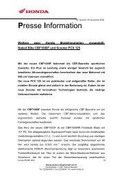 Pressemitteilung CBF1000F und PCX125 - Honda