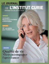 Journal de l'Institut Curie n°86 - Mai 2011 - Cancers du Sein - Institut ...