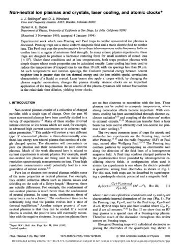 Non-neutral ion plasmas and crystals, laser cooling, and atomic ...
