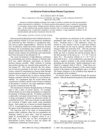 An Electron-Positron Beam-Plasma Experiment - UCSD Department ...