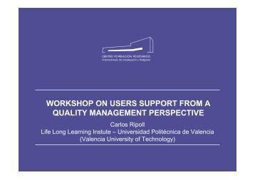 Workshop on users support from a quality management - Eqibelt