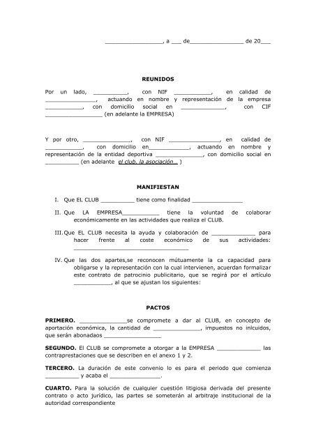 Contrato De Patrocinio Deportivo Y Publicitario Tu Patrocinio
